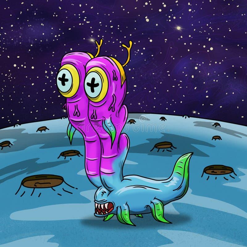Rosa loco y extranjero de espacio extraño azul stock de ilustración