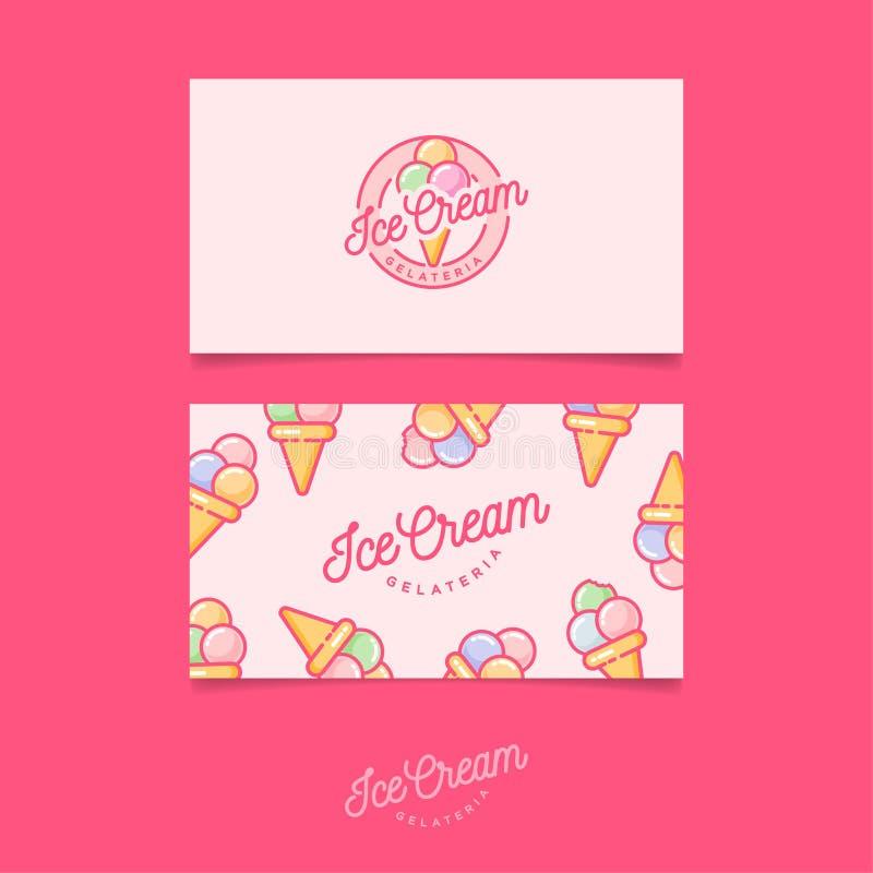 Rosa logoglass Italienskt glassemblem Logo och modell identitet finansiell serie för affärskort vektor illustrationer