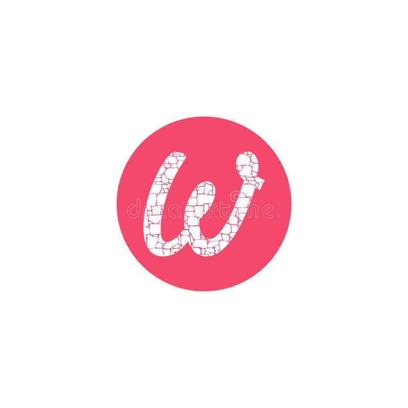 Rosa Logoikonenentwurfs-Schablonenelemente Kreis Buchstaben W vektor abbildung