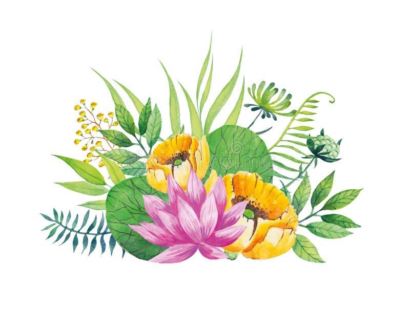 Rosa Lotos Aquarellblume mit Florenelementen auf dem weißen Hintergrund Auch im corel abgehobenen Betrag stockbilder