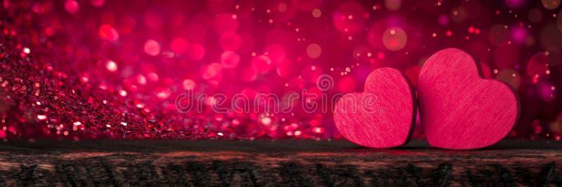 Rosa luccicante Valentine Hearts immagini stock