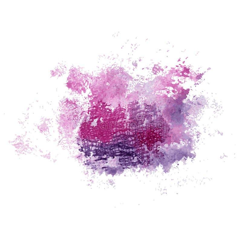 Rosa luminoso dell'acquerello e macchia blu con struttura del tessuto Illustrazione astratta su un fondo bianco Vettore illustrazione di stock