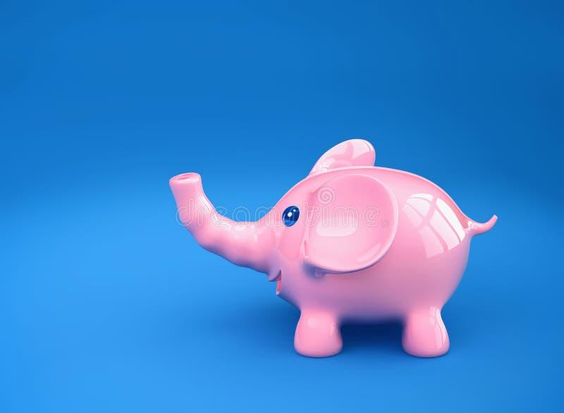 Rosa lustiger Elefant auf blauem Hintergrund lizenzfreie abbildung