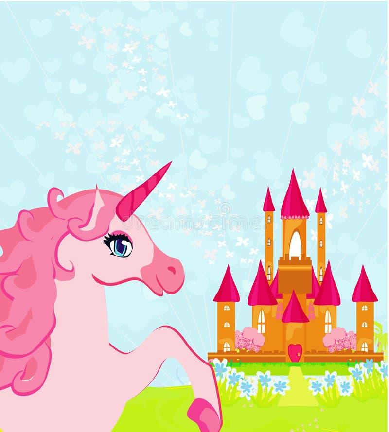 rosa magiskt slott och unicorn vektor illustrationer