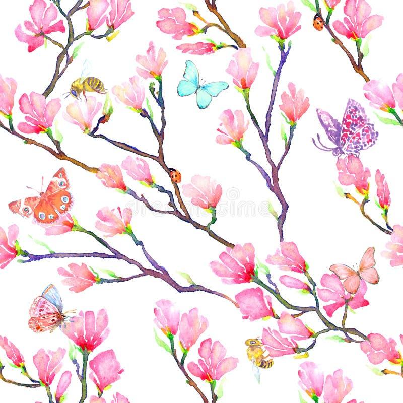 Rosa Magnolie verzweigt sich mit Schmetterlingen, Wanzen, Marienkäfern und Bienen vektor abbildung