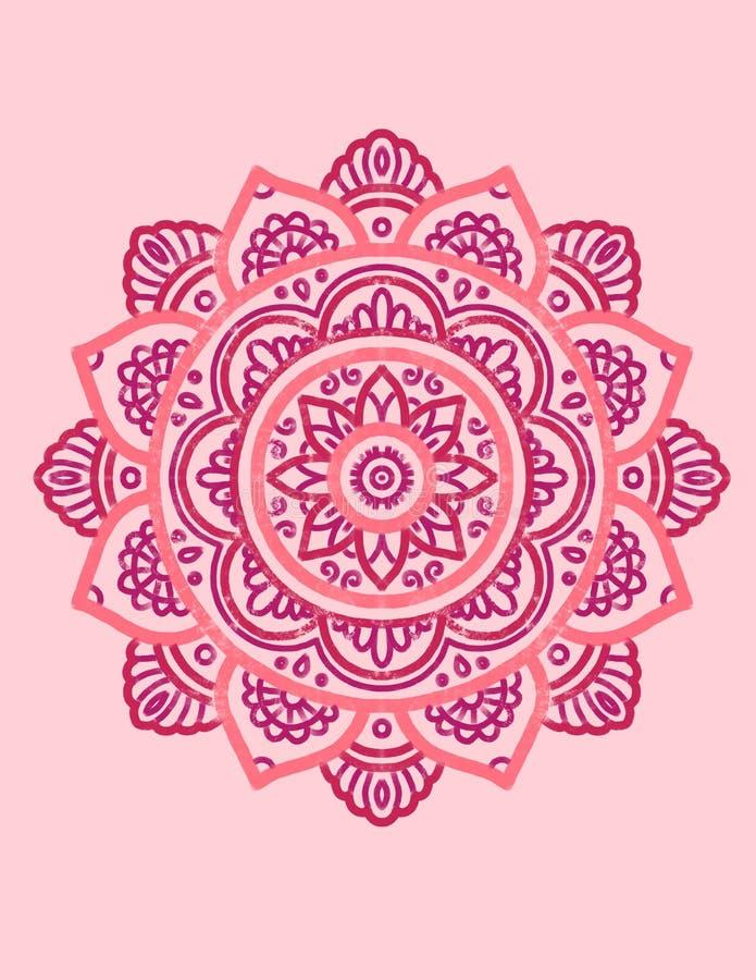 Rosa Mandala Ritning Illustration stock illustrationer