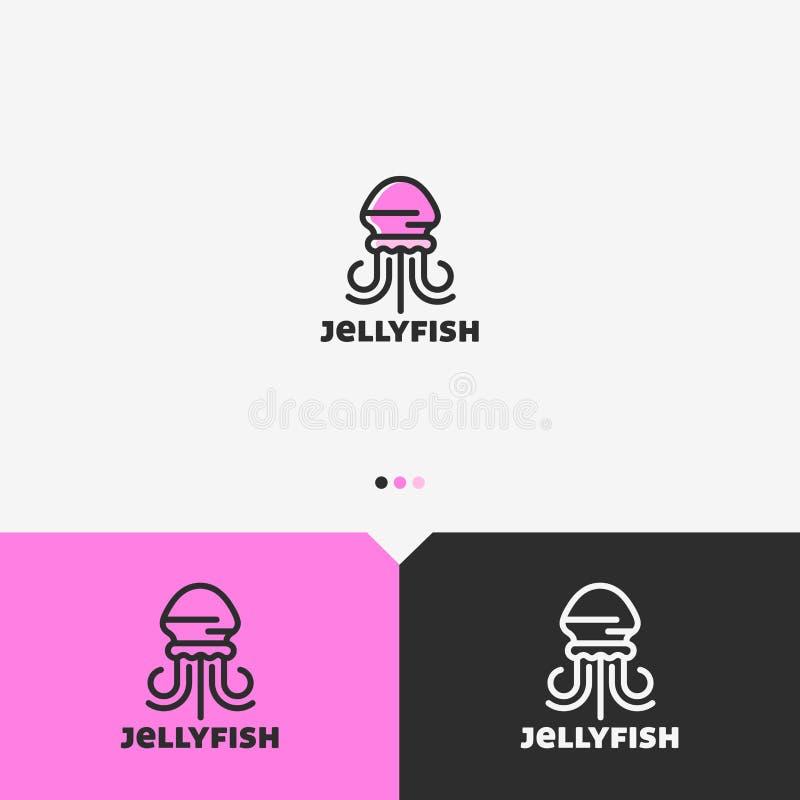 Rosa manet Logo Design Template Enkel och ren översiktsstil Färg och Monochromatic version royaltyfri illustrationer
