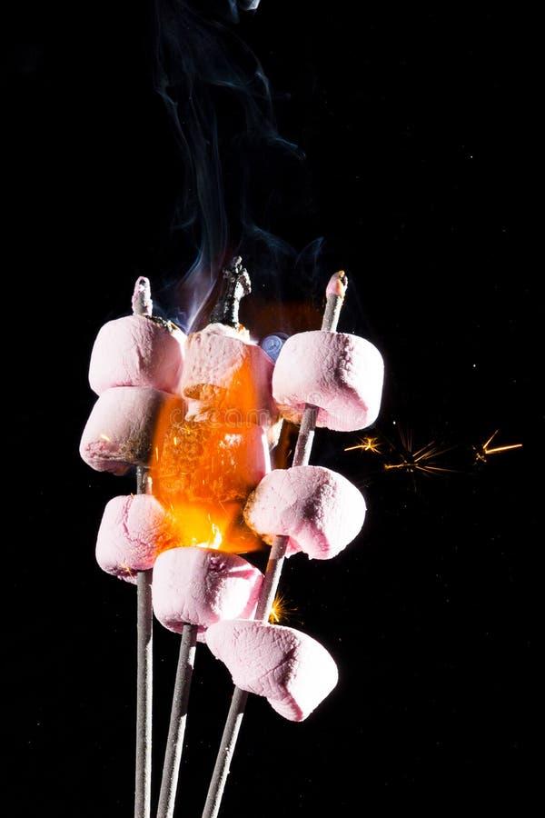 Rosa marshmallower på brand arkivfoton