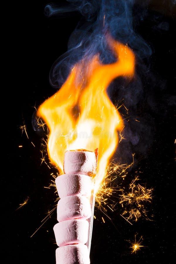 Rosa marshmallower på brand arkivbild