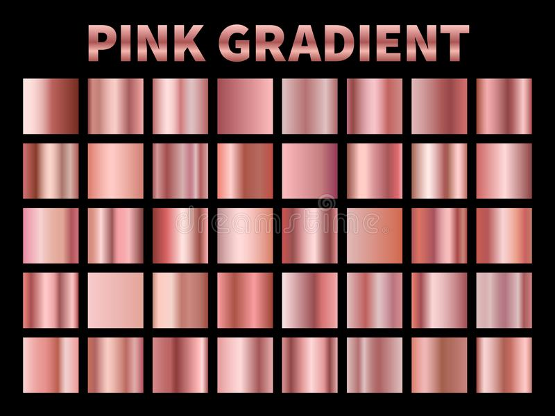 Rosa metallische Steigungen Goldene rosafarbene Steigungsfolie, Plattengrenzrahmenband-Abdeckungsaufkleber der glänzenden Rosen m vektor abbildung