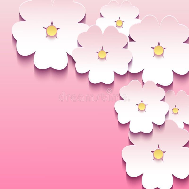 Rosa mit Blumenhintergrund mit 3d blüht Kirschblüte lizenzfreie abbildung