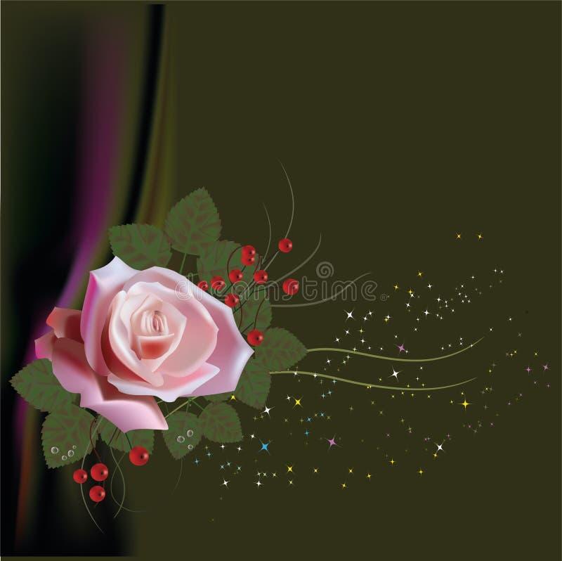 rosa, modelo, floral, fondo, rosa, flor, flores, papel, vintage, diseño, vector, primavera, tarjeta del día de San Valentín, pape libre illustration