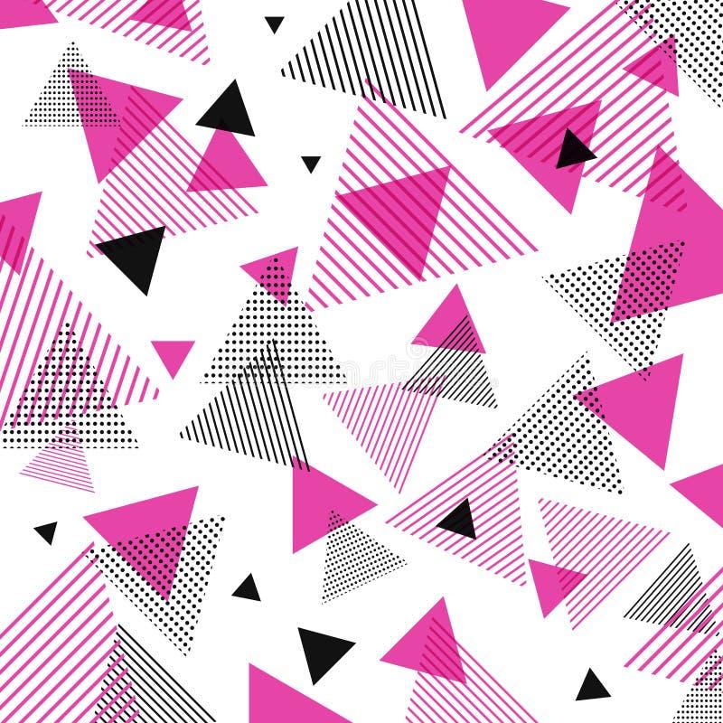 Rosa moderno abstracto, modelo negro de los triángulos con las líneas diagona ilustración del vector