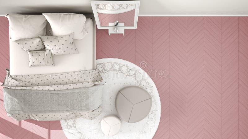 Rosa moderno cómodo y dormitorio beige con el piso de entarimado de madera, la alfombra con el taburete y la cama con la manta y  libre illustration