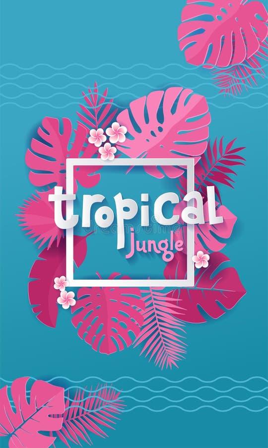Rosa monstera Palmbl?tter um wei?en quadratischen Rahmen mit der Hand, die tropischen Dschungel Fahnenentwurf in der geschnittene lizenzfreie abbildung