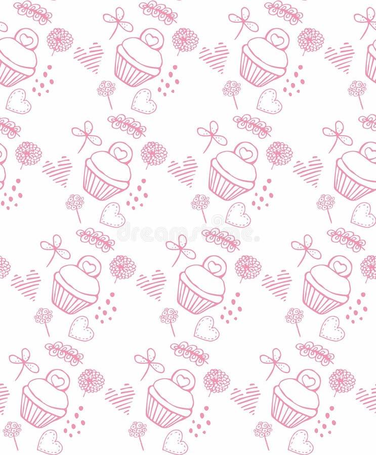 Rosa Muster kuki und Blumenkuchen lizenzfreie abbildung