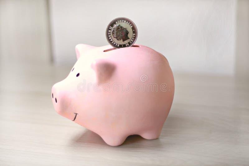 Rosa myntbank på med ett silvermynt arkivfoto