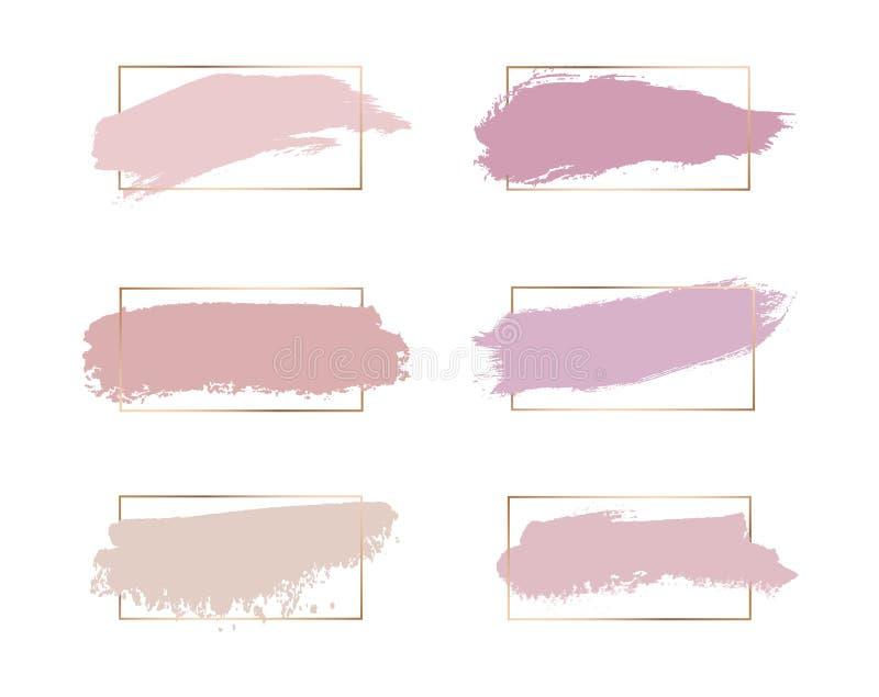 Rosa näckt, rosa, borstar persikafärger linjer ramar för wirh för slaglängdvattenfärgtextur guld- Geometrisk form med vattenfärge vektor illustrationer