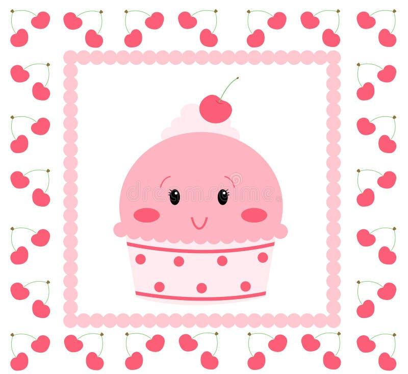 rosa nätt för icecream vektor illustrationer