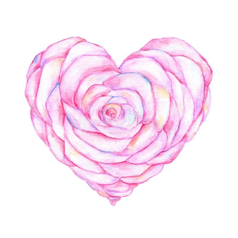 Rosa na forma do trabalho da aquarela do coração ilustração royalty free
