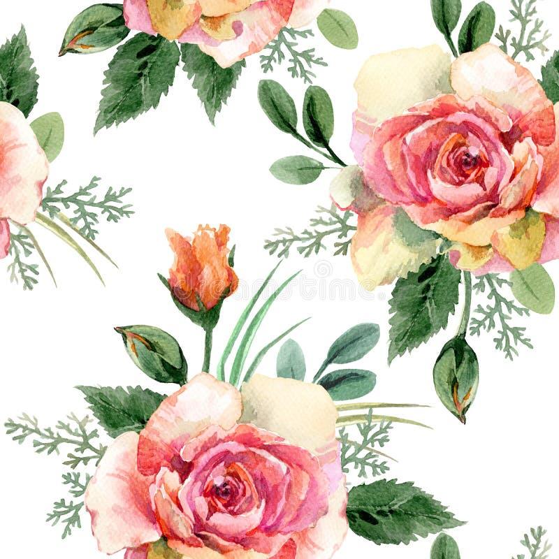 Rosa naadloos patroon De achtergrond van de waterverfbloem stock illustratie
