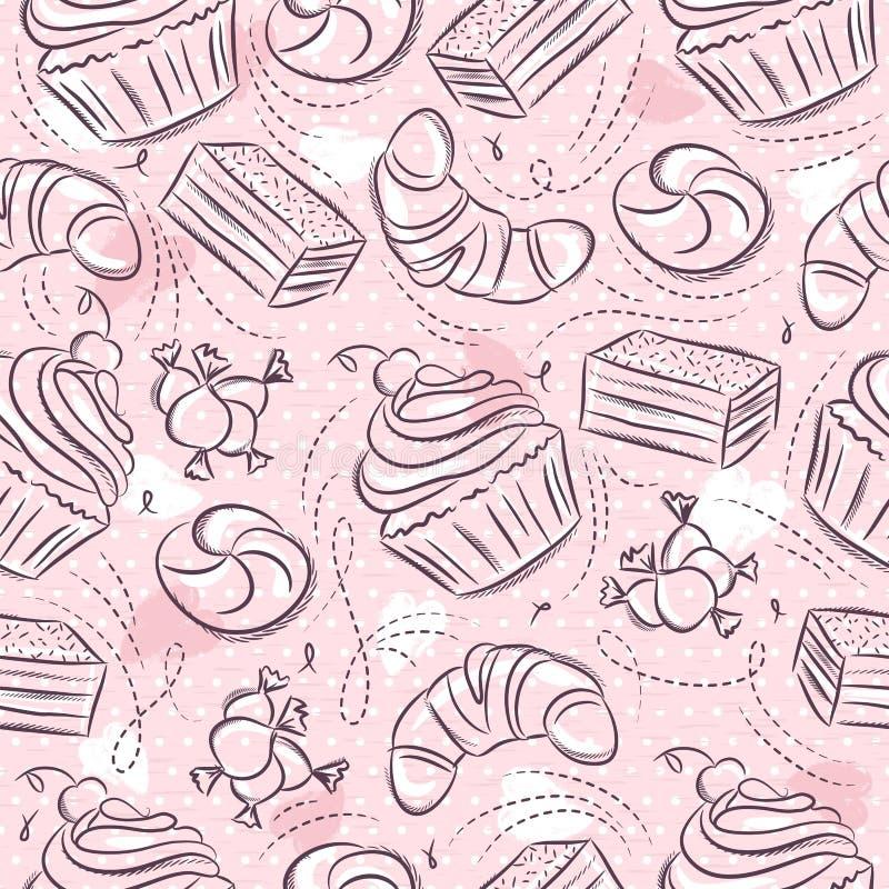 Rosa nahtlose Muster mit kleinem Kuchen, Hörnchen, Kuchen und Bonbon auf Schmutzhintergrund Ideal f?r den Druck auf Gewebe und Pa lizenzfreie abbildung