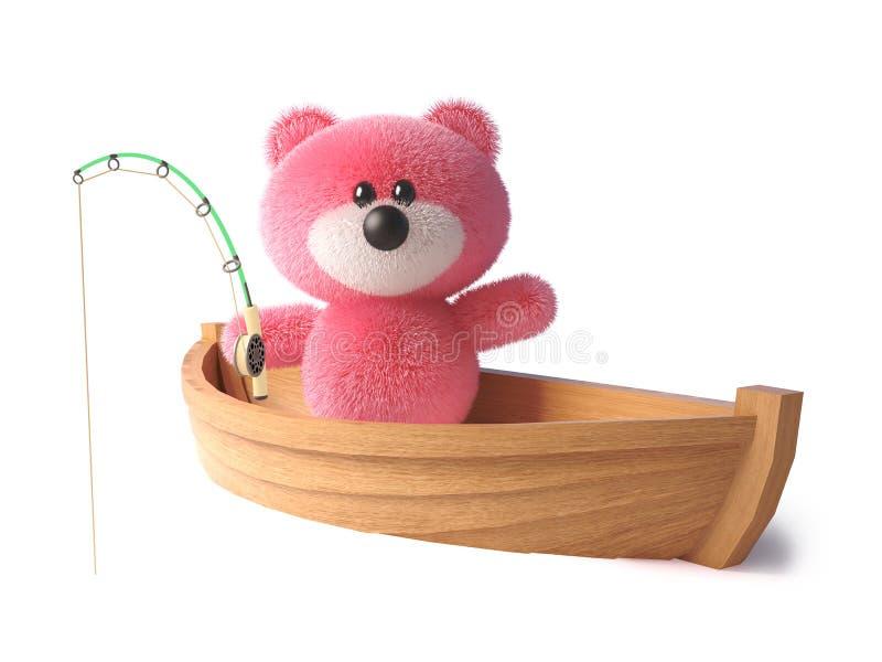 Rosa nallebjörn med fluffigt mjukt pälsfiske från hennes jolle, illustration 3d royaltyfri illustrationer