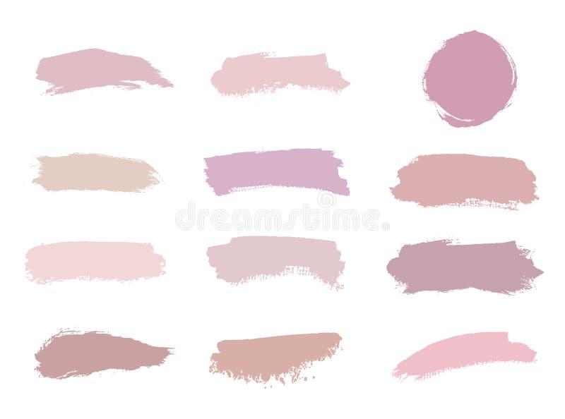 Rosa, nude, cor-de-rosa, textura da aquarela do curso da escova das cores do pêssego Forma geométrica com lavagens da aquarela Mo ilustração stock