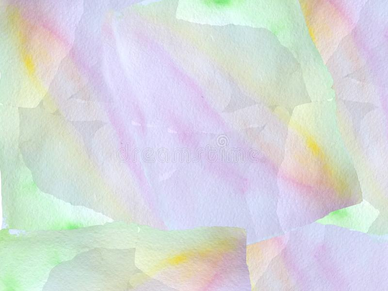 Rosa och blå bakgrund för abstrakt vattenfärg med gula fläckar rasterillustration för affischdesign stock illustrationer