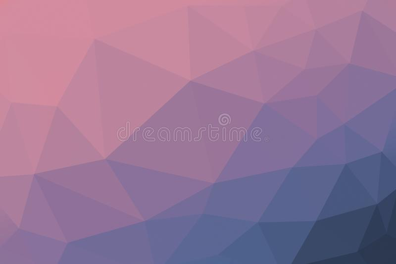 Rosa och blå färgad lutningtriangelbakgrund, abstrakt polygonmodell royaltyfri fotografi