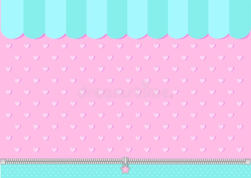 Rosa och för mintkaramell blå grön bakgrund med små hjärtor Godisen shoppar bakgrunden royaltyfri illustrationer