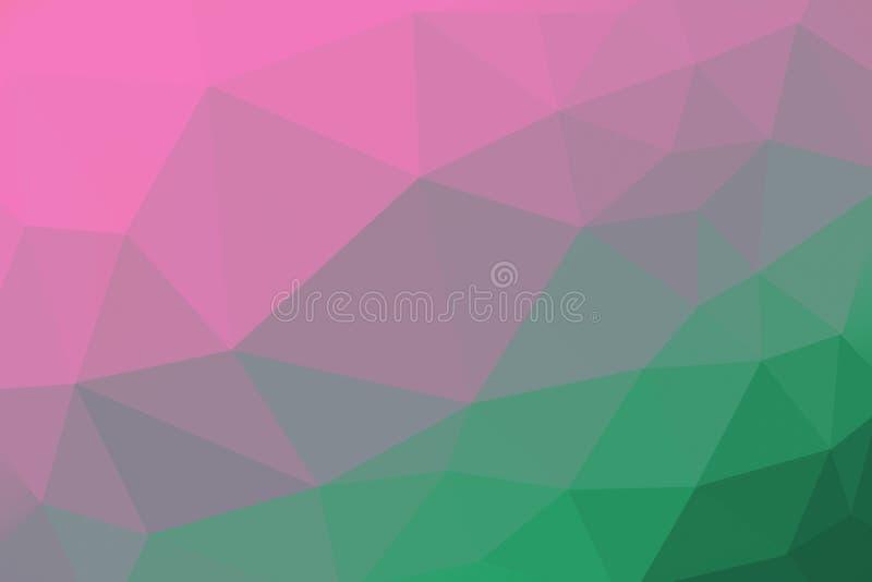 Rosa och grön färgad lutningtriangelbakgrund, abstrakt polygonmodell - photoshopillustration fotografering för bildbyråer