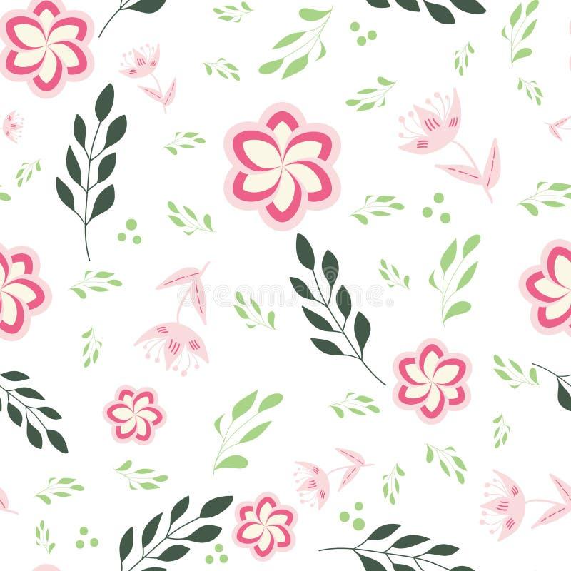 Rosa, rosa och gröna stiliserade blommor och sidor på sömlös repetition för vit bakgrund stock illustrationer