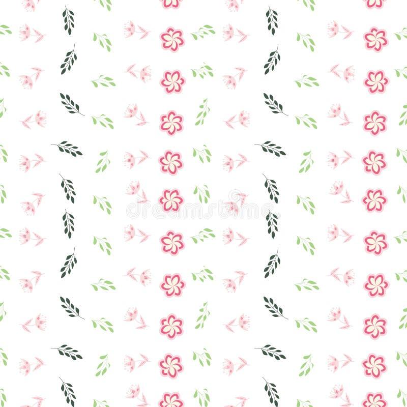 Rosa, rosa och gröna stiliserade blommor och sidor på sömlös repetition för vit bakgrund royaltyfri illustrationer