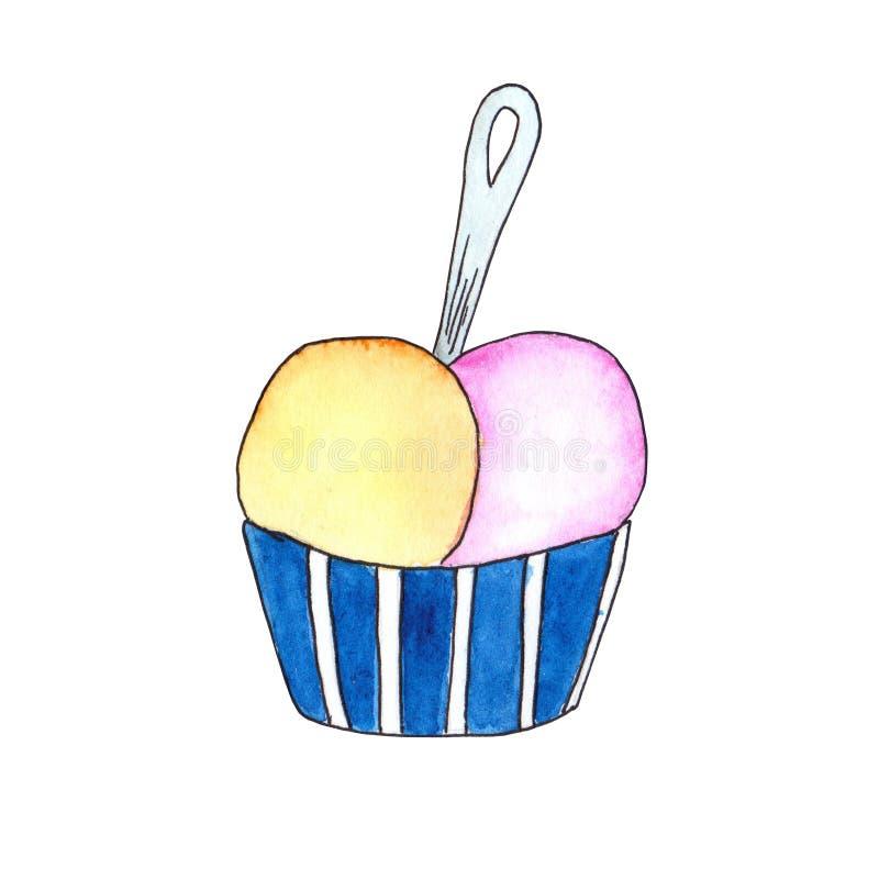 Rosa och gula bollar för glass i en randig hink med en sked royaltyfri illustrationer