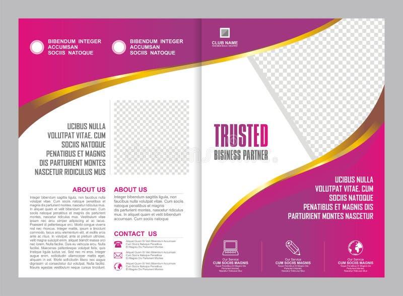 Rosa och purpurfärgad broschyr, reklamblad, malldesign royaltyfri illustrationer