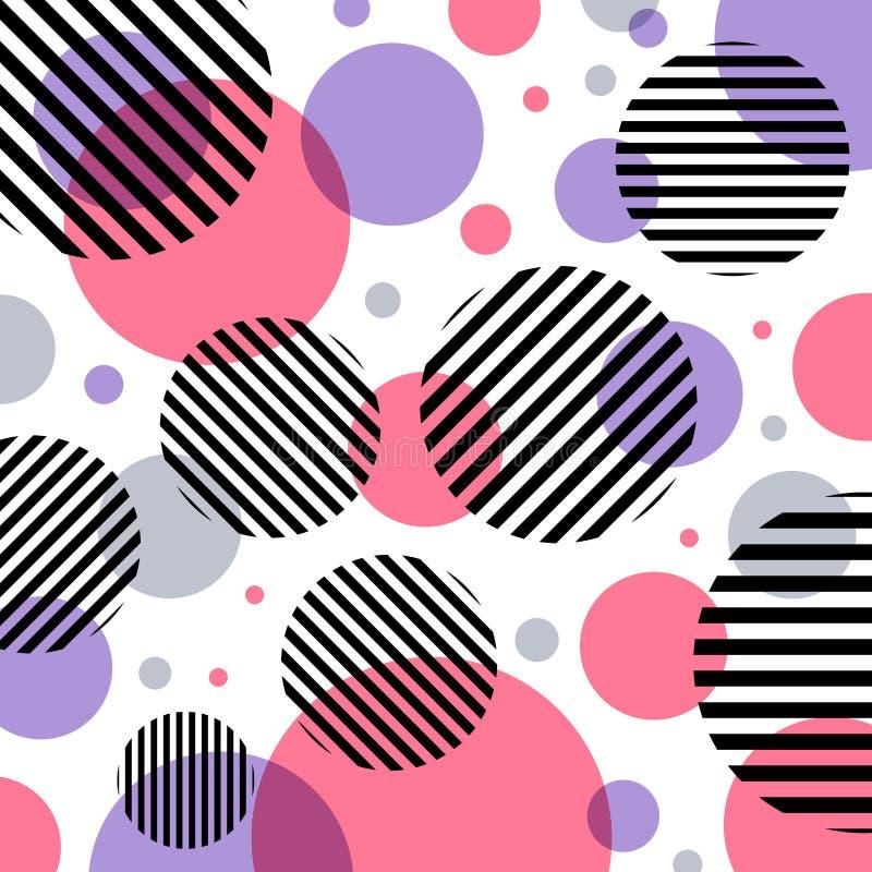 Rosa och purpurfärgad cirkelmodell för abstrakt modernt mode med svarta linjer diagonalt på vit bakgrund stock illustrationer