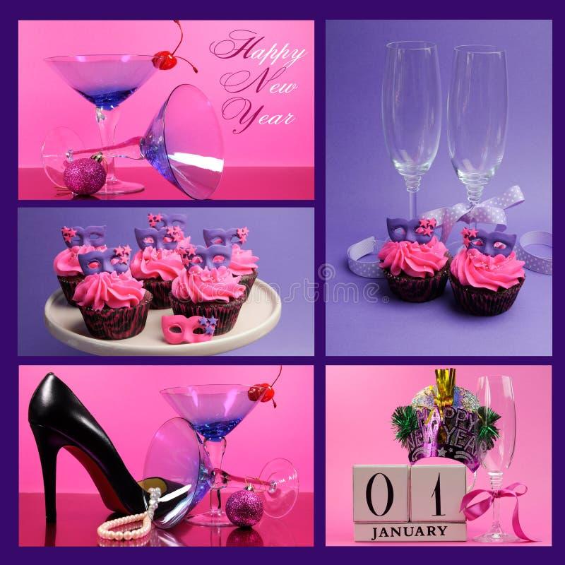 Rosa och purpurfärgad collage för lyckligt nytt år för tema royaltyfri fotografi