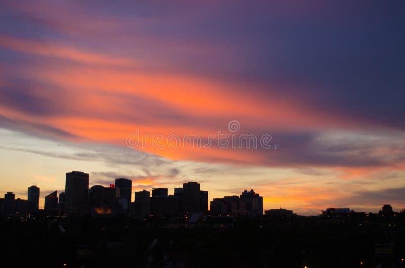 Rosa och purpurfärgad solnedgång över Edmonton royaltyfria bilder
