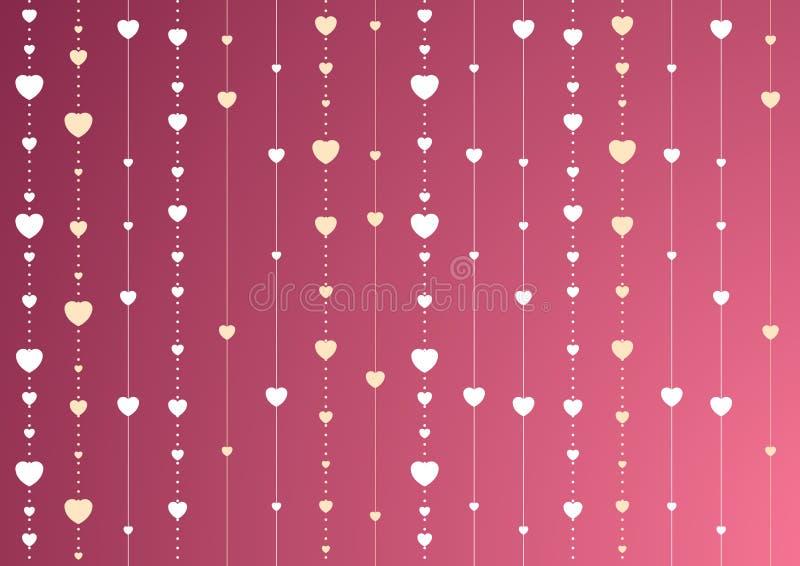 Rosa och purpurfärgad St-valentinbakgrund med hjärtor stock illustrationer