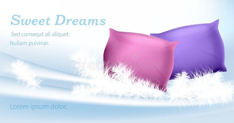 Rosa och purpurfärgade kuddar står på vita fjädrar stock illustrationer
