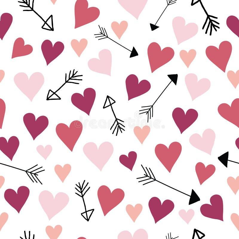 Rosa och röda förälskelsehjärtor för vektor och pilar stock illustrationer