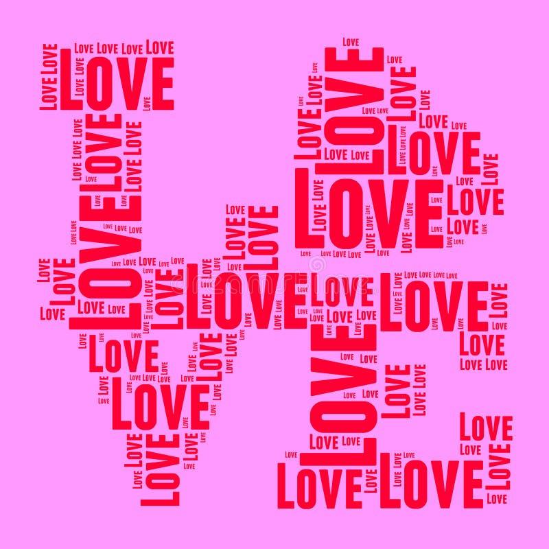 Rosa och röda ord för stil för popkonst fördunklar FÖRÄLSKELSE vektor illustrationer