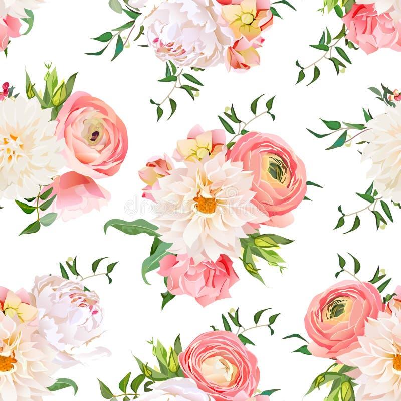 Rosa och sömlös vektormodell för pion för dahlia, för ranunculus, stock illustrationer