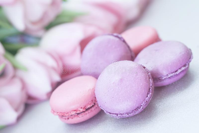 Rosa och violetta Macarons, vår blommar, tulpan, mjuk pastellfärgad bakgrund Romantisk morgon gåva, gåva för älskling arkivbilder