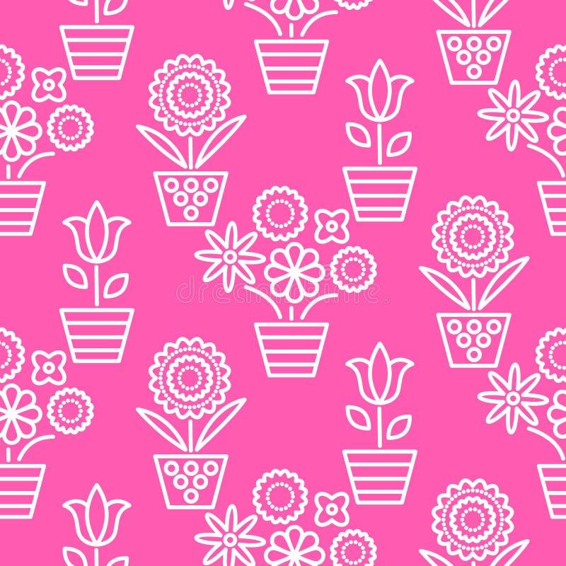 Rosa och vit linje sömlös vektor för blomkrukor stock illustrationer