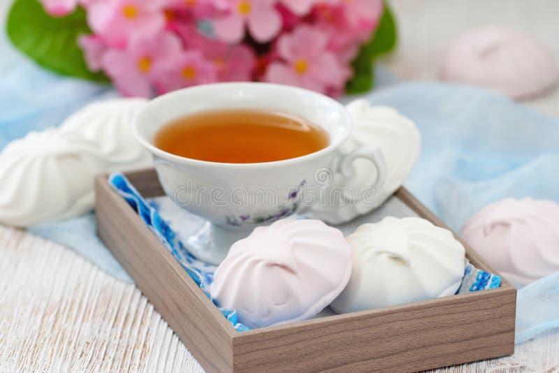 Rosa och vit sefir eller marshmallow arkivbild