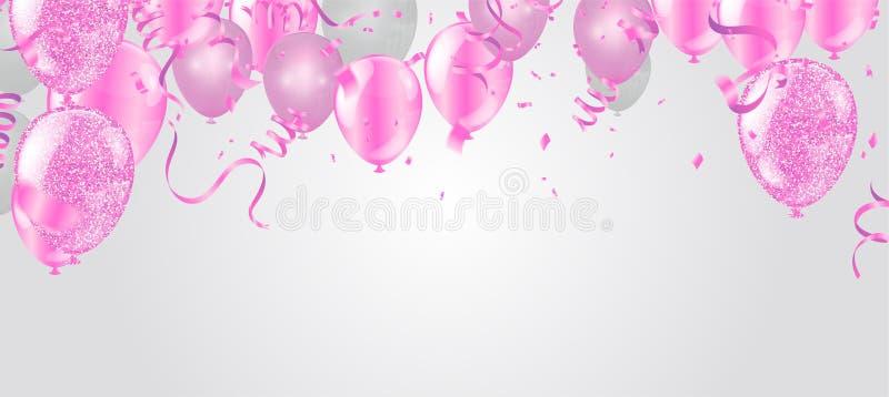 Rosa och vita ballonger och på den vita bakgrunden Vektormapp för EPS 10 stock illustrationer