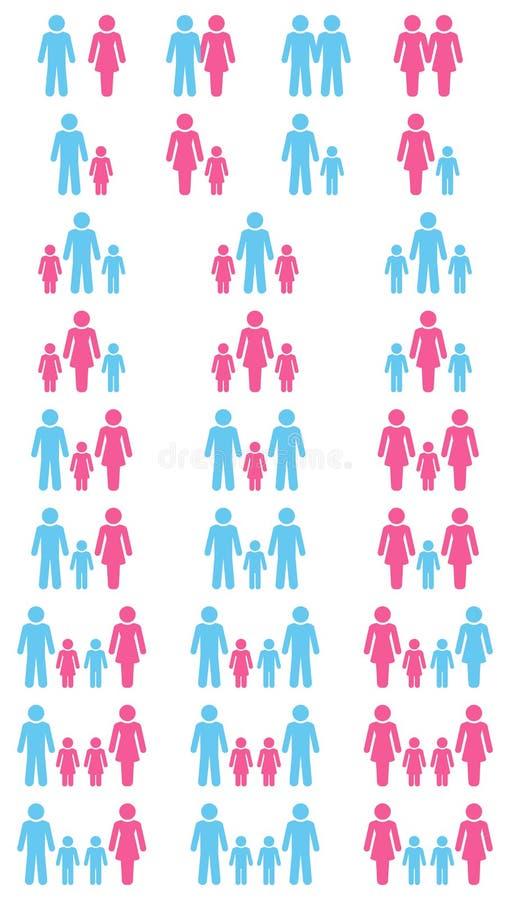 Rosa olika konstellationer för familjsymboler som är blåa och vektor illustrationer