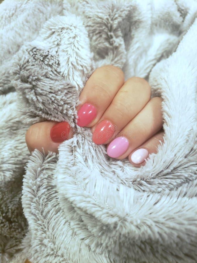 Rosa ombre fingernails fotografering för bildbyråer